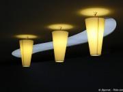 drei Lampen mit gelblichem Licht