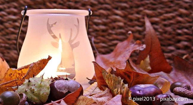Ein stimmungsvolles Windlicht, einige Herbstmaterialien: Fertig ist die geschmackvolle Deko
