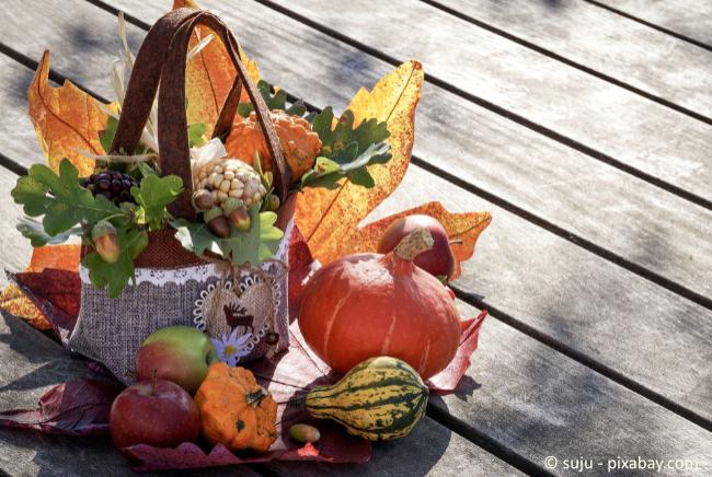 Deko aus herbstlichen Materialien wie Kürbissen passt wunderbar zum Herbst.