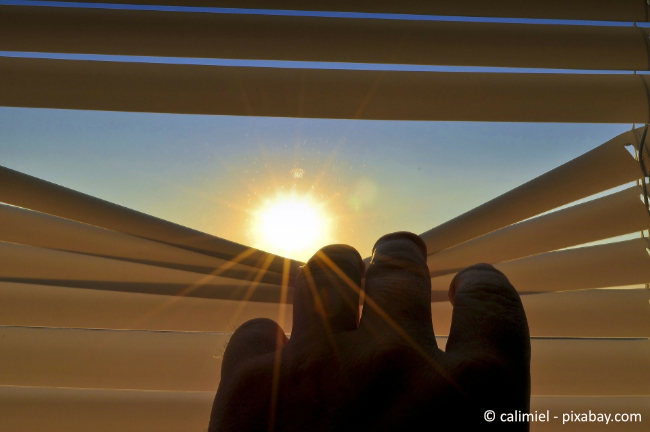 Eine Jalousie kann die Wohnung effektiv vor Sonneneinstrahlung schützen.